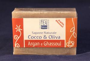 sapone all'olio di cocco e oliva con Argan e Ghassoul TEA Natura